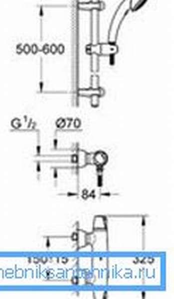 Схема стандартного смесителя с термостатом с указанием типоразмеров
