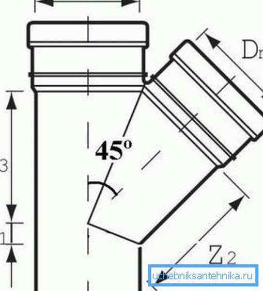 Схема тройника с отводом на 45°