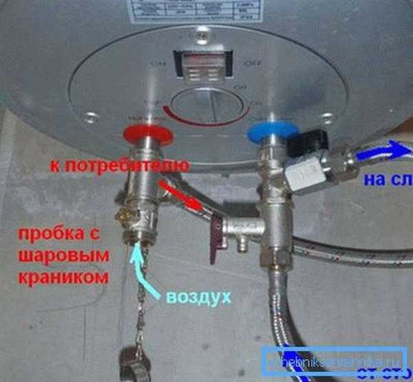 Схема удаления воды с бойлера