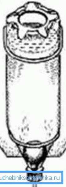 Схема умывальника с резиновой грушей внутри.