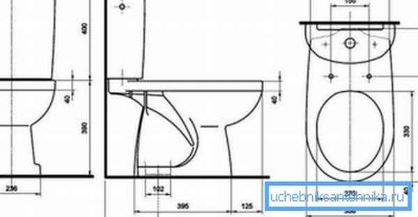 Схема унитаза с вертикальным выпуском – как видно по параметрам, он занимает гораздо меньше места, чем другие варианты