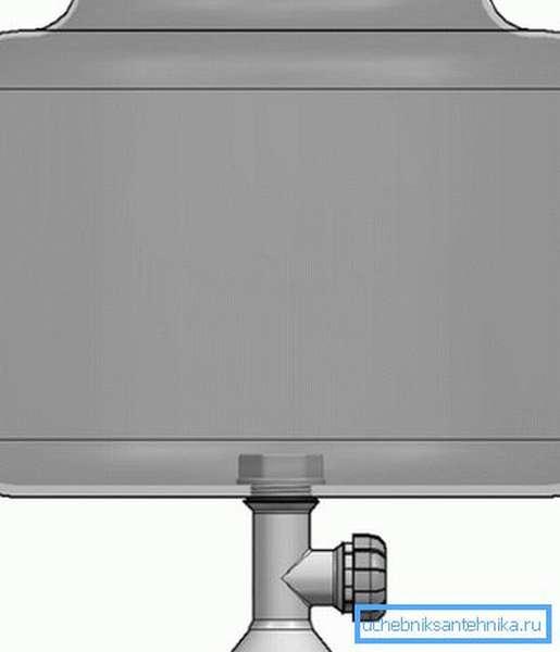 Схема установки крана на бак для воды.