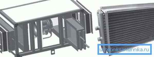 Схема устройства, оснащенного пластинчатым теплообменником