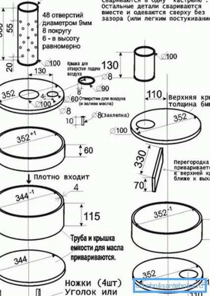 Схема устройства печи с указанием размеров деталей