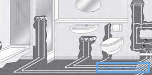 Схема устройства водопровода в совмещённом санузле