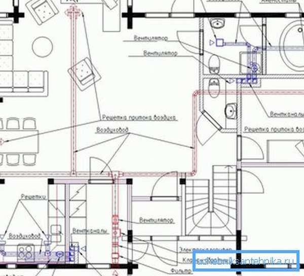 Схема вытяжной вентиляции загородного коттеджа