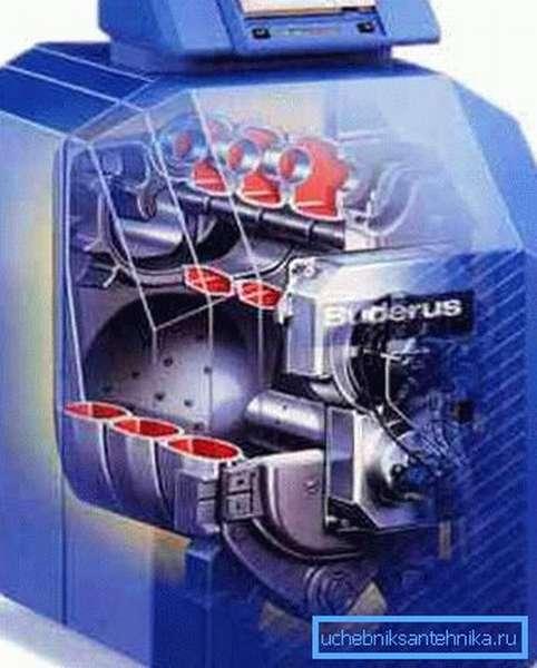 Схематическое изображение жидкотопливного котла отопления