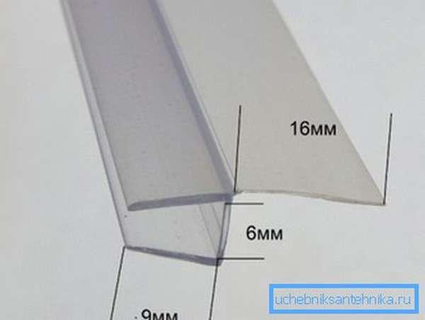 Силиконовый уплотнитель для стекла толщиной 6 мм