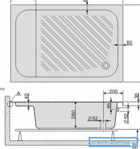 Скорее всего вы встретите подобный чертеж, с котором будут указаны все основные размеры конструкции и необходимый отступ от поверхности пола