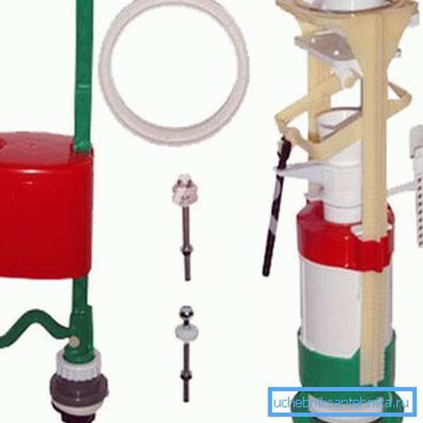Сливная арматура с двумя клапанами