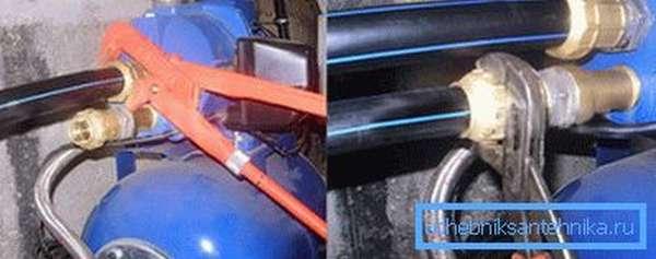 Соединение насоса с водопроводом