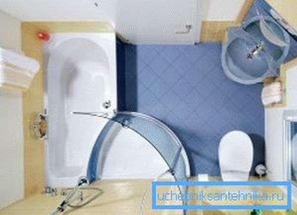 Совместный душевой блок с ванной