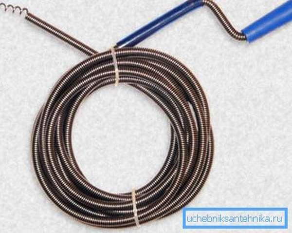 Спиральный наконечник прочистного троса должен сравнительно легко ввинтиться в засор