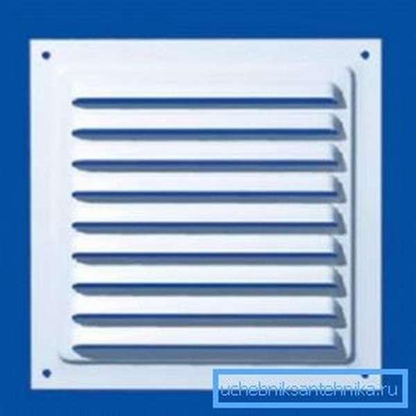 Стандартная металлическая вентиляционная решетка с жалюзи