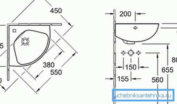 Стандартные размеры углового умывальника по сторонам 350-700 мм
