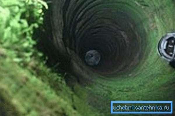 Стены шахты загрязнены зеленым мхом.
