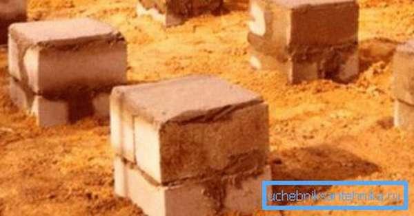 Столбчатый фундамент из кирпичей