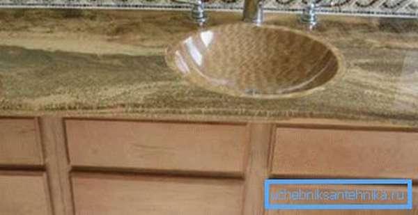 Столешница и круглая встраиваемая раковина из искусственного мрамора
