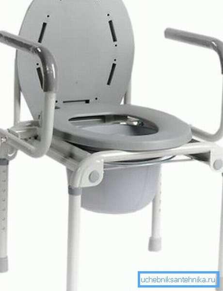 Стул унитаз для инвалидов со съемными подлокотниками