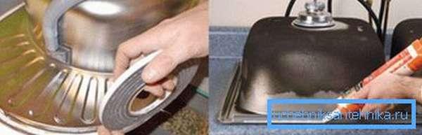 Стык можно герметизировать либо саморасширяющейся лентой, либо силиконом