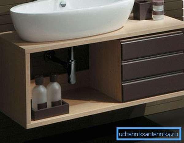 Такая мебель скроет коммуникации и предоставит место для средств гигиены.