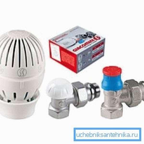 Термостатический комплект для подключения радиатора в разобранном виде