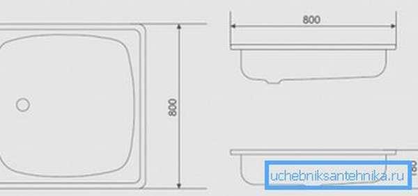 Типичное квадратное изделие 800х800 мм: чертеж в трех проекциях