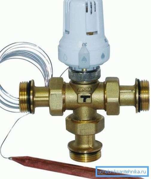 Трехходовой термостатический кран с датчиком погружного типа