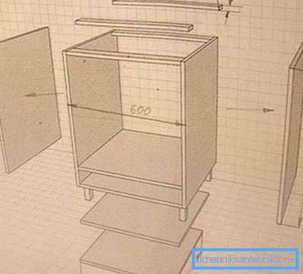 Тумба под раковину на кухню своими руками – схема-чертеж