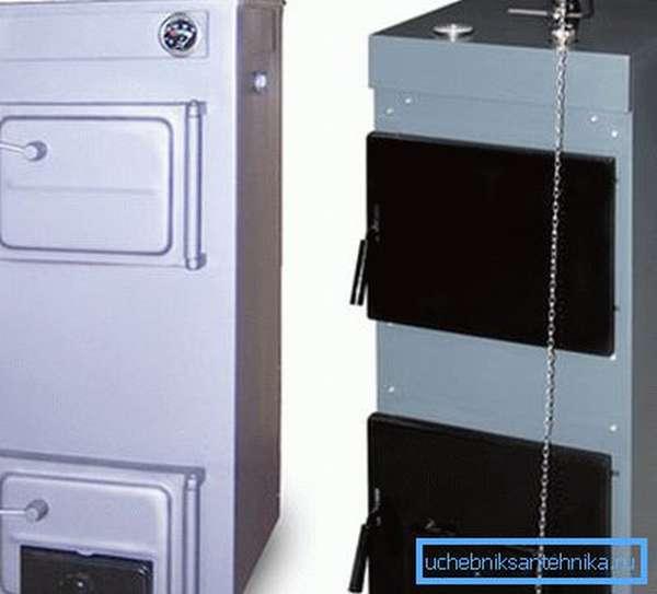 Твердотопливные котлы отопления Дон с функцией перехода на газ (справа)