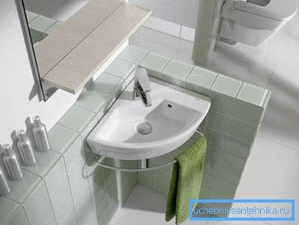 Угловая мини раковина в ванную
