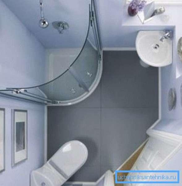 Угловое расположение сантехнических приборов в совмещенном санузле.