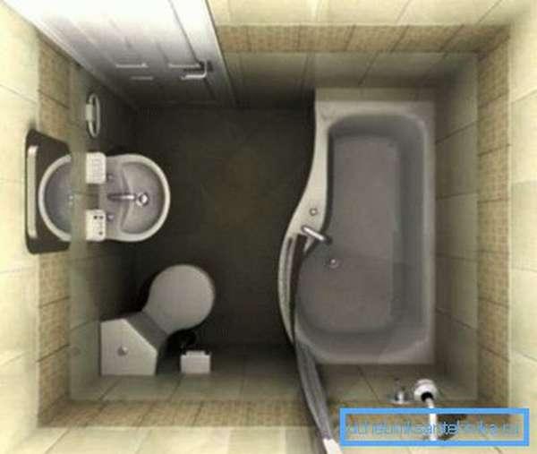 Унитаз в углу ванной – отличное решение для экономии ограниченного пространства