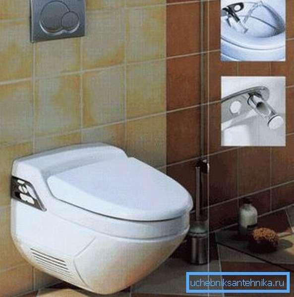Унитаз, закрепляемый на стене, не имеет ножки, что облегчает уборку туалета