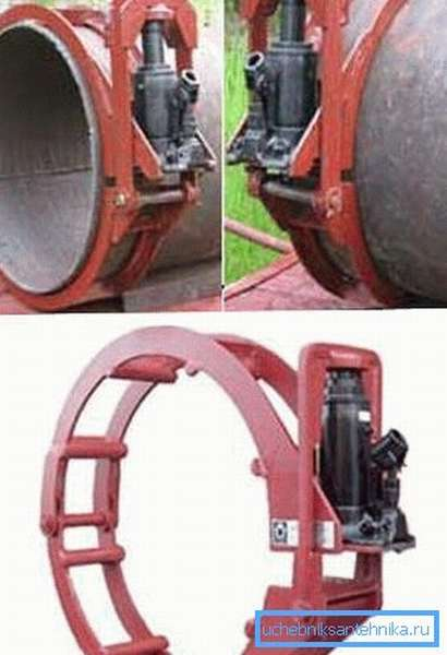 Установка арочного типа для совмещения стыков с большими диаметрами