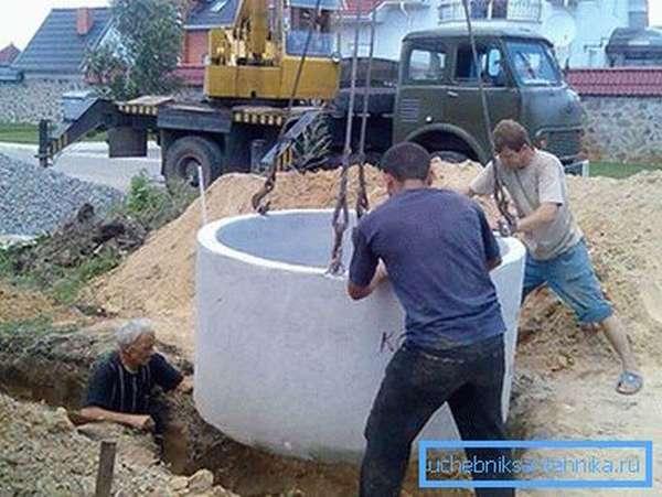 Установка бетонных колец краном
