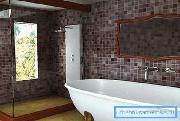 Установка душа в ванной с окном в сад