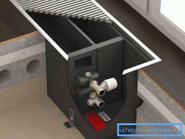 Установка пластинчатого конвектора в полу