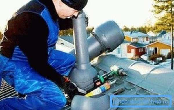Установка вентиляционной трубы