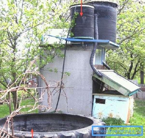 В это примере на крыше установлены 2 емкости