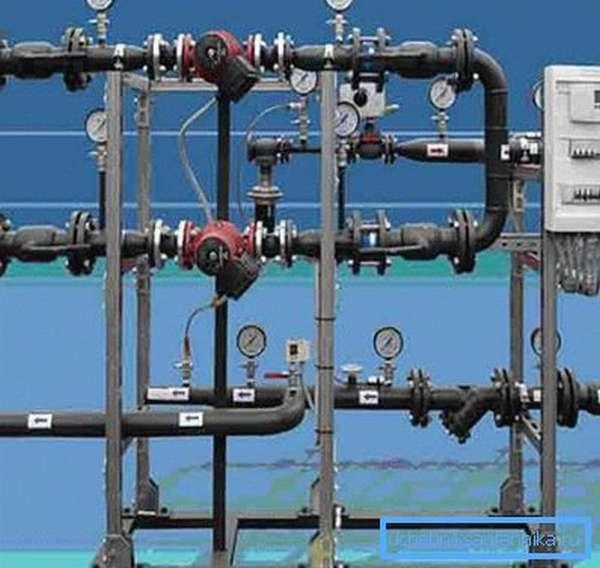В тепловом пункте собраны основные узлы управления системой отопления.