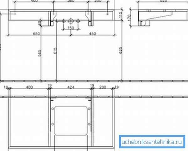 Вариант чертежа, созданного для изготовления конструкции под определенную модель раковины