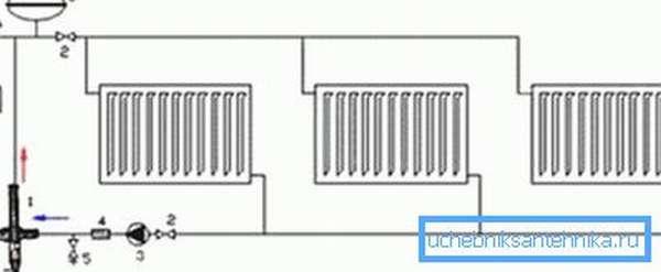 Вариант схемы подключения нескольких подобных батарей в целую сеть