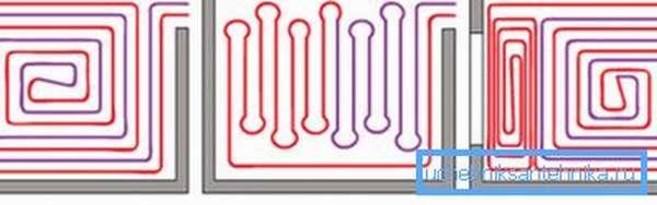 Варианты укладки нагревательных элементов, которые также влияют на длину материала