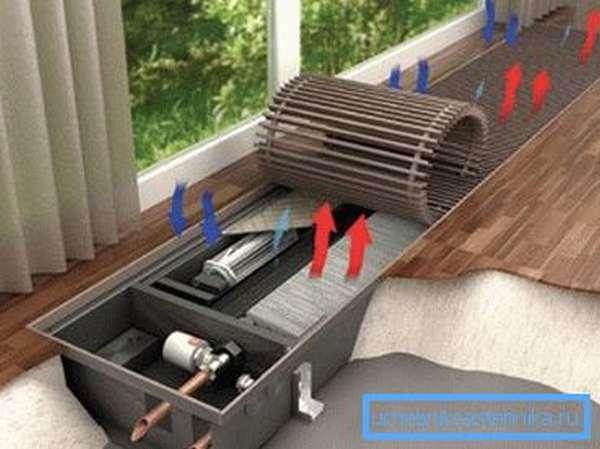 Вентилятор нагнетает холодный воздух в теплообменник, что положительно сказывается на эффективности системы