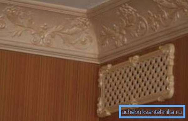 Вентиляционная решётка под потолком