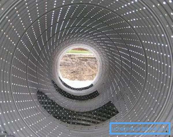 Вид перфорированной трубы изнутри