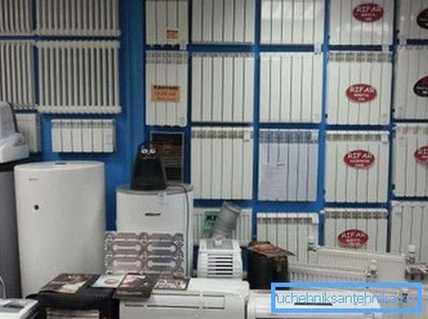 Витрина магазина отопительного оборудования.
