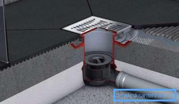 Внутреннее устройство душевого поддона из плитки (армирующая сетка условно не показана).