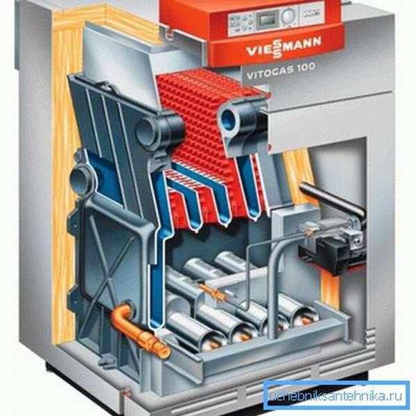 Внутреннее устройство отопительного газового котла.